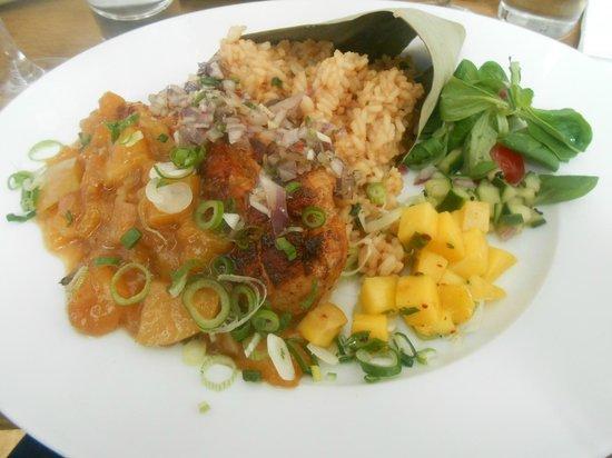 Mjam : Chicken with mango chutney and rice