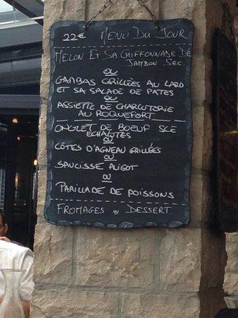 Les Halles de l'Aveyron Rodez : Menu a 22