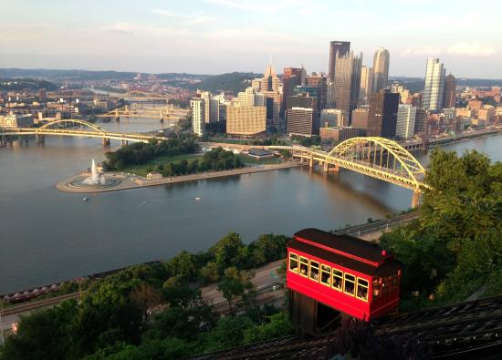 Mount Washington: Classic photo of Pittsburgh skyline and three rivers with Duquesne incline from Mt. Washington w