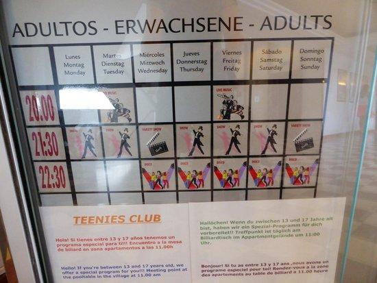 ClubHotel Riu Oliva Beach Resort : Activity schedule