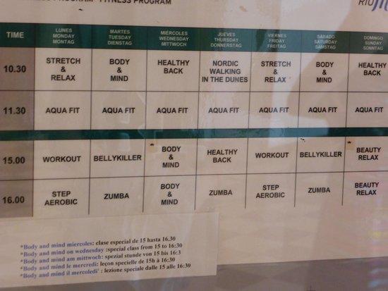Hotel Riu Oliva Beach Resort: Activity schedule