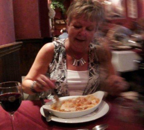 La Taverna: Heather tucking into Lasagne