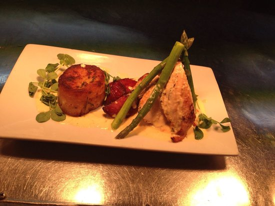 Fat Olive Wigan: Chicken supreme with chorizo, asparagus and fondant potato with an Alfredo sauce.