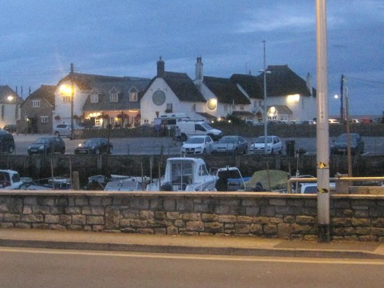 West Bay Harbour: Bridport Arms at twilight