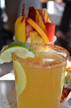 Puesto Mexican Street Food: fruit cup & michelada
