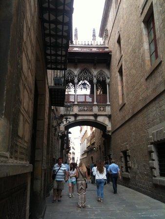 Gothic Quarter (Barri Gotic): bridge crossing Carrer del Bisbe