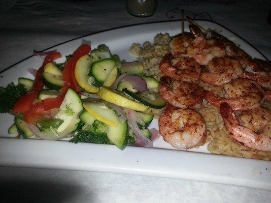 Sharky's: skewered shrimp