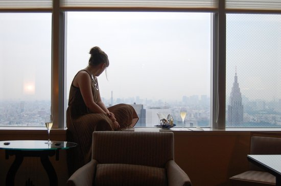 Park Hyatt Tokyo: Admiring the view from our room