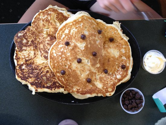 "DJ's North Woods Family Restaraunt: The ""Small"" order of pancakes. With chocolate chips."