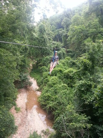 Zip Line USA : My wife on one of the lines