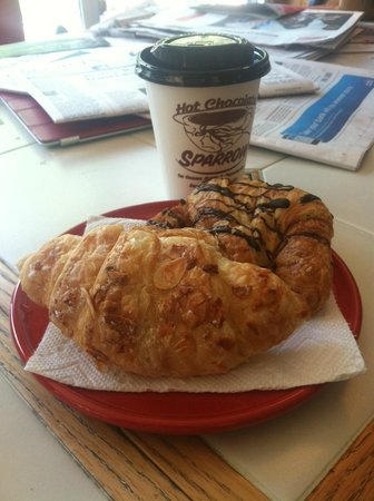 Hot Chocolate Sparrow: Almond and Chocolate Croissants