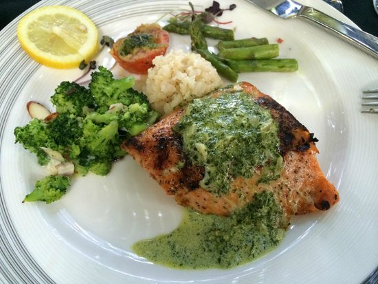 Cafe Des Amis : Grilled, herbed, Atlantic salmon