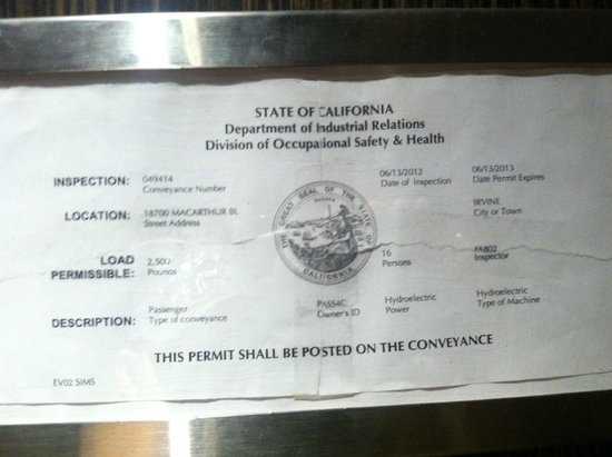 Atrium Hotel at Orange County Airport: Elevator Inspection Certificate