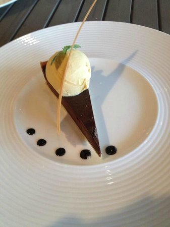 The Waterfront Restaurant: Choc tart with clotted cream ice cream
