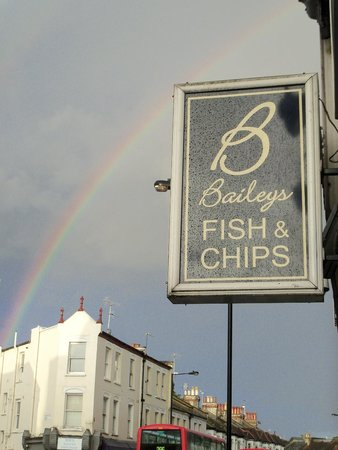 Baileys Fish and Chips: The double rainbow outside of Bailey's Fish & Chips