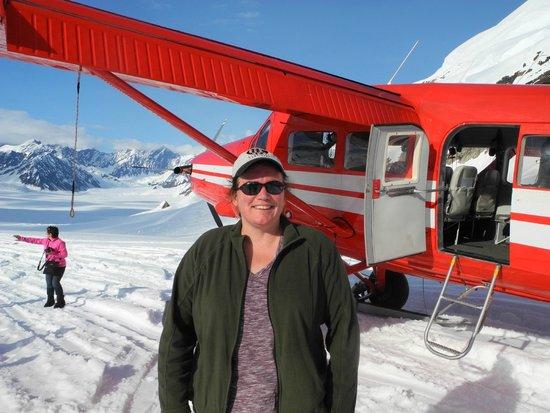 K2 Aviation: On the Ruth Glacier Ampitheatre. Very bright, even at 7:30 p.m.