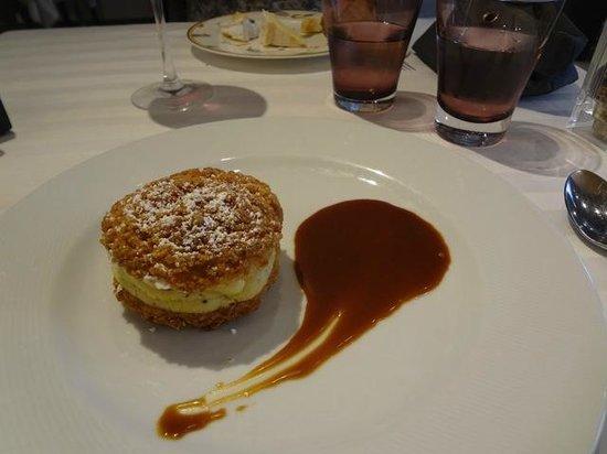 La Gazette : Dessert : chou, craquelin, crème vanille, caramel au beurre salé