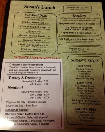 Susan's Restaurant: Lunch menu