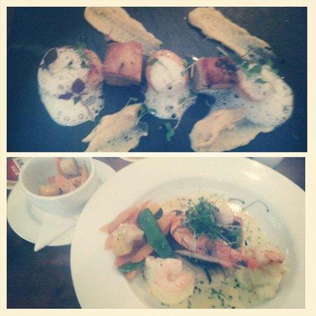 Parkfield Inn: Scallops starter and posh fish pie main.