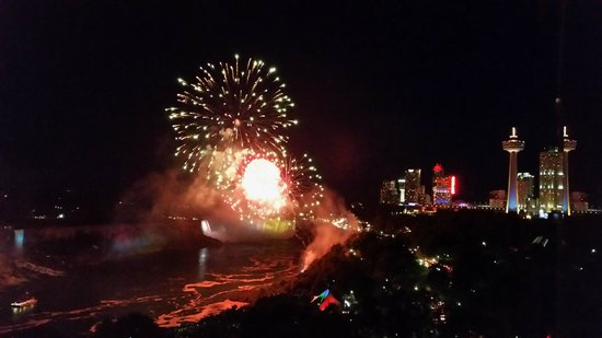 Sheraton on the Falls: View of the Friday night fireworks from our room on the 16th floor
