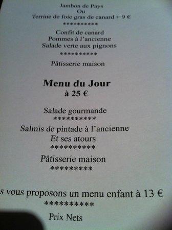 Auberge des Pins: 1er menu