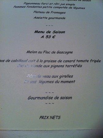 """Auberge des Pins: 2° menu avant le menu """"gastronomique"""""""