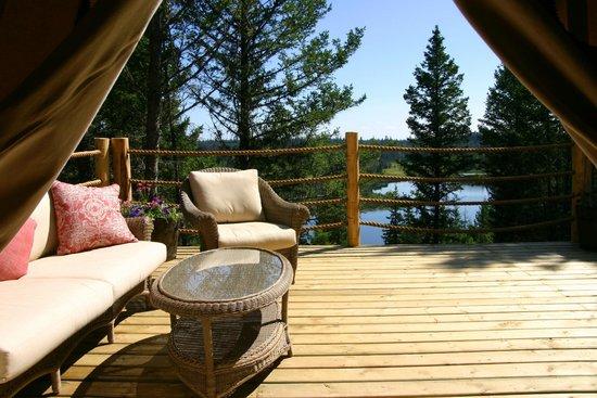 Siwash Lake Wilderness Resort: View from luxury safari tent at Siwash Lake Ranch