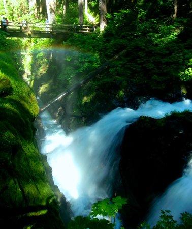 Sol Duc Falls: Bridge spans the falls