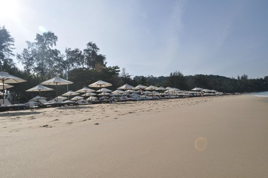 Novotel Phuket Surin Beach Resort.: Вид на платный пляж с дорошими лежаками и зонтиками.