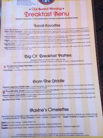 Maxine's : Breakfast Menu page 1