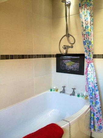 Heidi's Grasmere Lodge: TV in the bath - great!