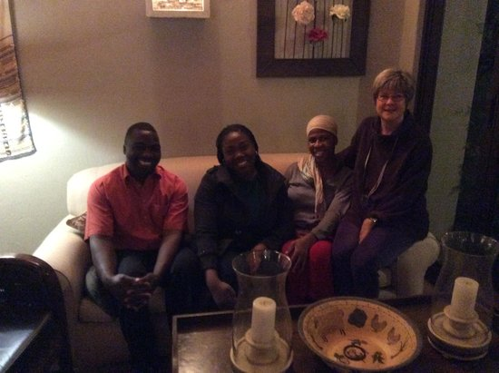 Liz at Lancaster Guesthouse: left to right. Mr. Zac, Aderonke (Betty), Catherine and Liz