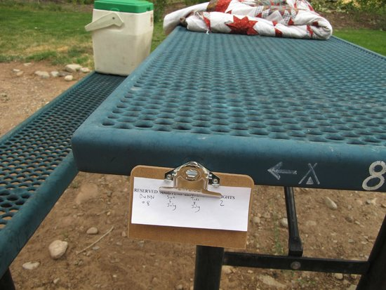 Up the Creek Campground: reservation card on table