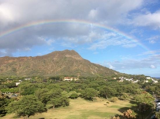 Lotus Honolulu at Diamond Head: we were greeted by a view of a rainbow over diamond head