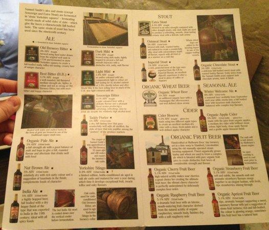 Ye Olde Cheshire Cheese: Beer list