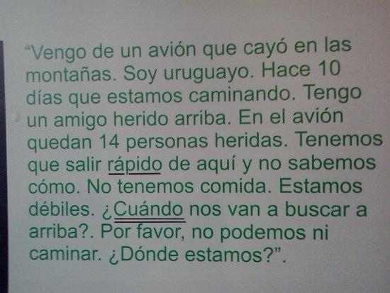 Museo Andes 1972: Carta escrita por um dos sobreviventes ao Chileno  que os viu do outro lado lado do rio , ela fo