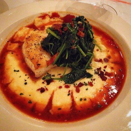 NiFen Bistro: Seabass over polenta with wilted spinach and bacon crumbles!!! D Lish!
