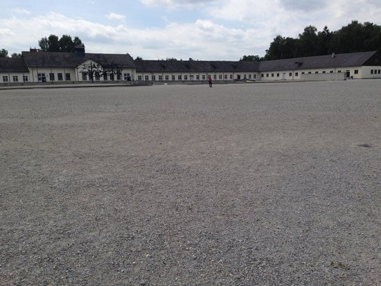 In Their Shoes Dachau Memorial Tours: Long shot of the front assembly grounds.