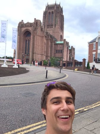Liverpool Cathedral: Selfie by the church.