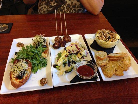 Alsur Café (Palau): Left to Right: Mediterranean Torrada, Baked Alsur Meatballs, HOT MINI CAMEMBERT(!!!)