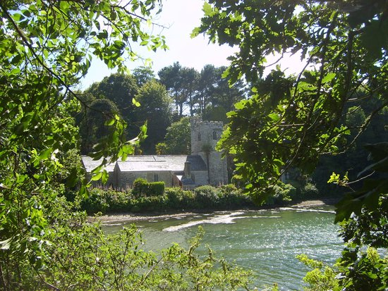 St. Just in Roseland Church: Church from the waterside