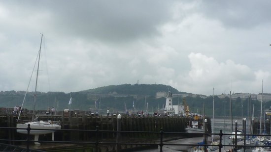 Scarborough Castle: view over harbour