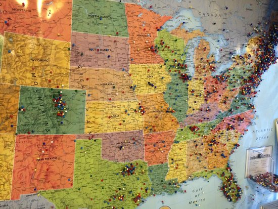 Downeast Ice Cream: My daughters enjoyed pinning the map where our hometown is...