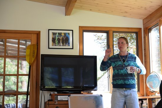 "Otter Bar Lodge : Sophie, one of our awesome instructors reviews roll videos during one of the morning ""chalk talk"
