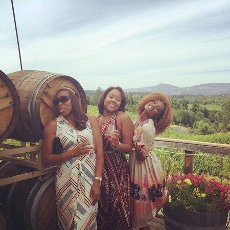 Everett Ridge Winery: Enjoying birthday with wine in hand.