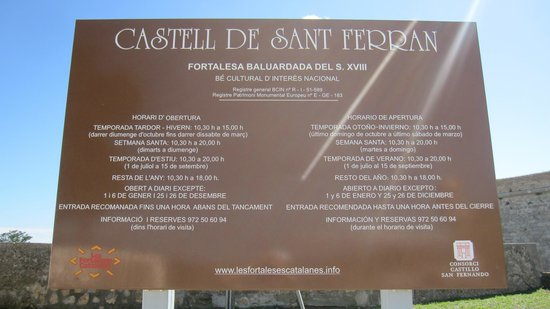 Castillo de San Fernando: Panel informativo