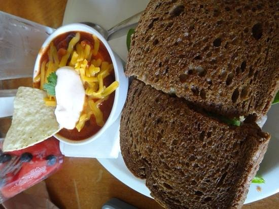 Canoe on the Run: Grilled cheese and veggie chili. both are amazing!