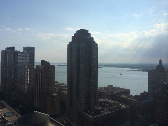 New York Marriott Downtown: View room to Statue of Liberty from 32 floor - look hard and you will see it!