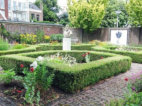 Museum de Zwarte Tulp : the garden with the statue of Carolus Clusius