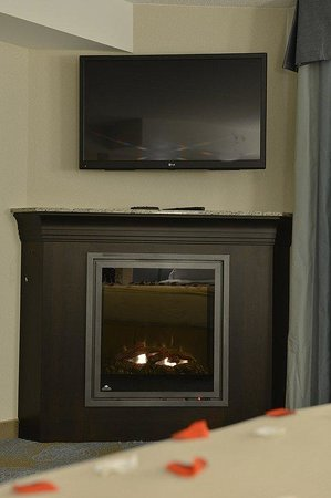 """Holiday Inn Express Hotel & Suites Waterloo - St Jacobs: Our Jacuzzi Suites feature an in-room Fireplace and 42"""" LED HDTV"""